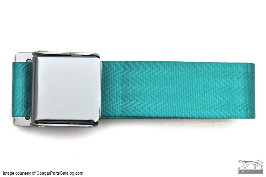 seat belt - aqua - repro ~ 1967 - 1973 ford mustang ( 1967 ford mustang,  1968 ford mustang, 1969 ford mustang, 1970 ford mustang, 1971 ford mustang,
