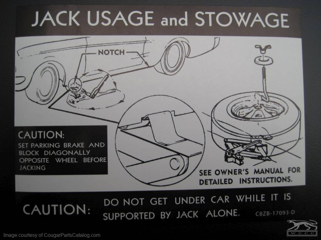 jack instructions decal (with styled steel wheel) - repro ~ 1968 mercury  cougar - 1968 ford mustang ( 1968 mercury cougar, 1968 ford mustang ) at  west coast