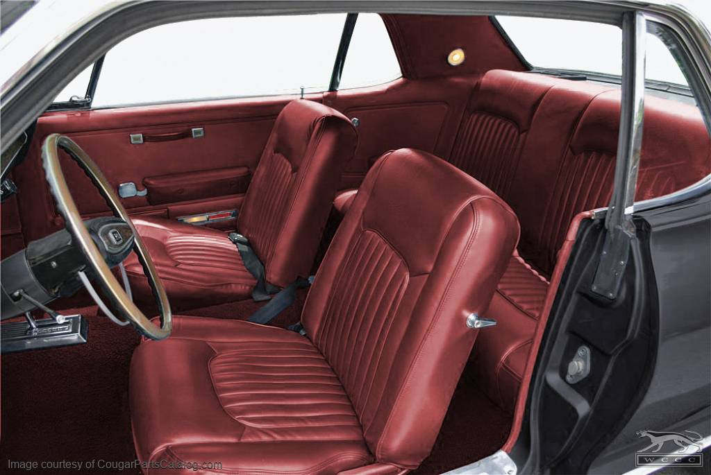 Vinyl Interior Upholstery Dark Red Xr7 Complete Kit Repro 1968 Mercury Cougar 14697