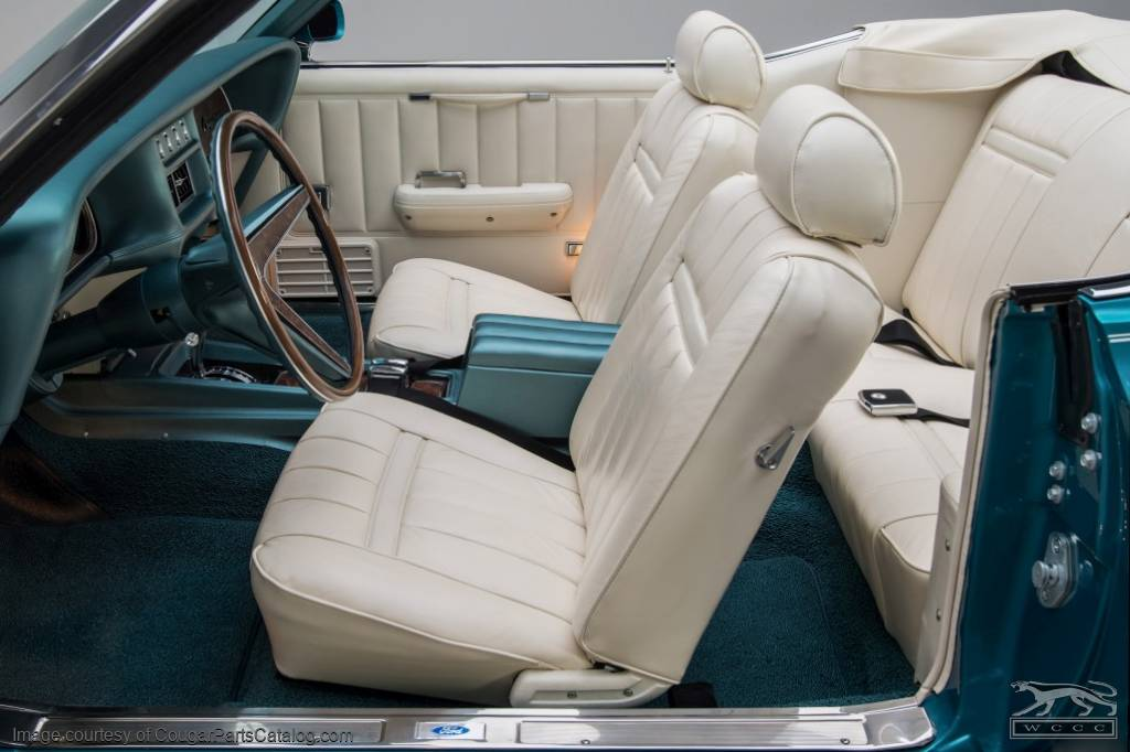 Vinyl interior upholstery convertible xr7 white complete kit repro 1969 mercury for 1969 mercury cougar interior parts