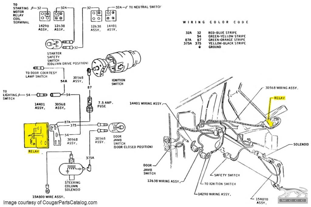 relay - steering column - tilt    tilt away lock