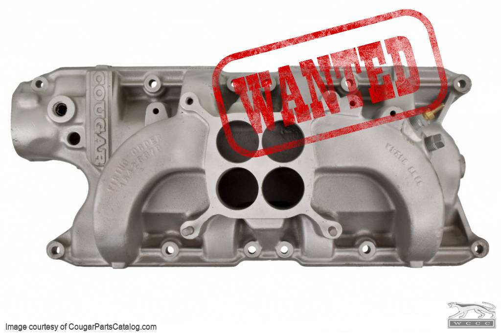Intake Manifold - 289-4V / 302-4V - Group II Shelby American COUGAR  Lettered - Used Fits: 1967 - 1968 Mercury Cougar