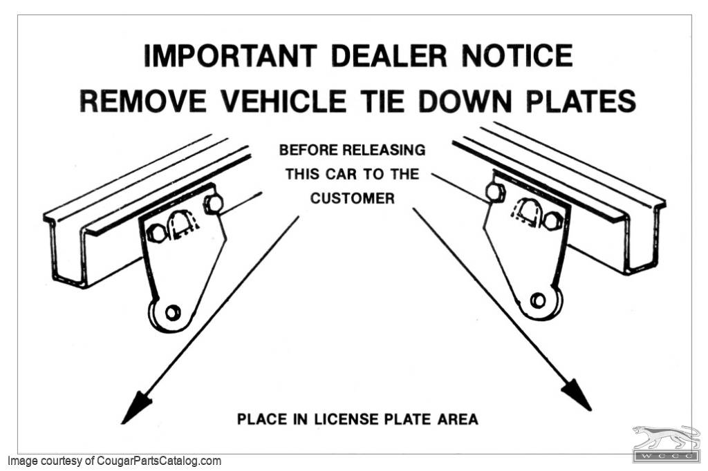 tie down instructions decal - repro