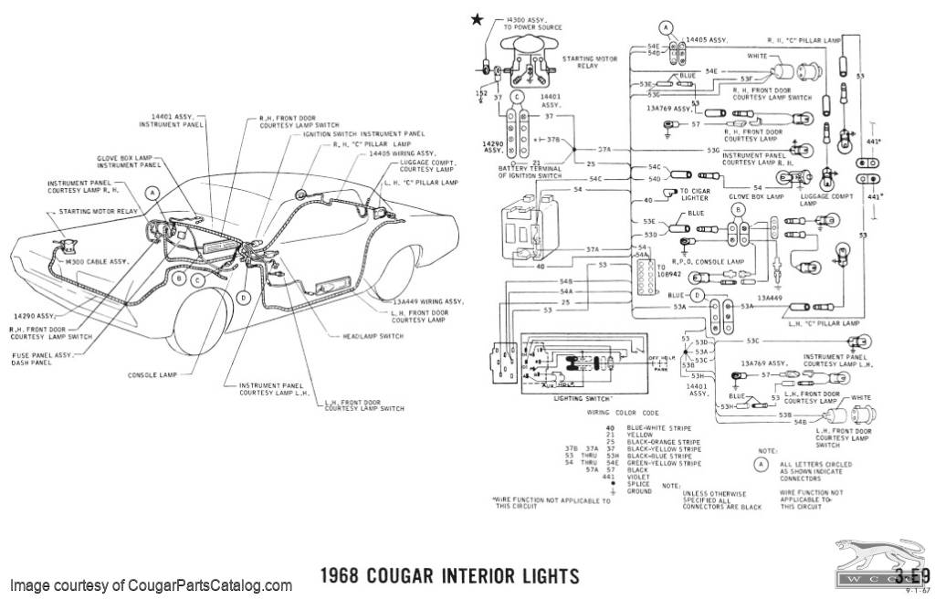 1967 mercury cougar headlight wiring diagram  1967  get