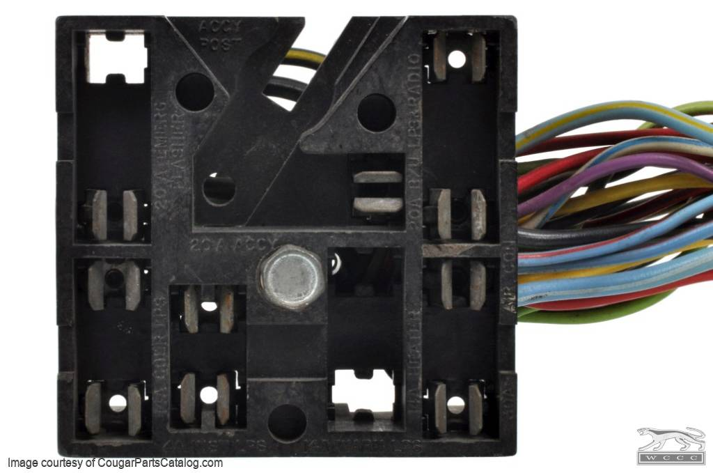 wiring fuse block w wire leads xr7 used 1969 1970 mercury rh secure cougarpartscatalog com 99 mercury cougar fuse box location 99 mercury cougar fuse box location