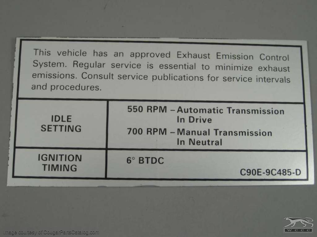 Other Car Manuals MACH 1 302 2V EMISSIONS DECAL 1973 FORD MUSTANG ...