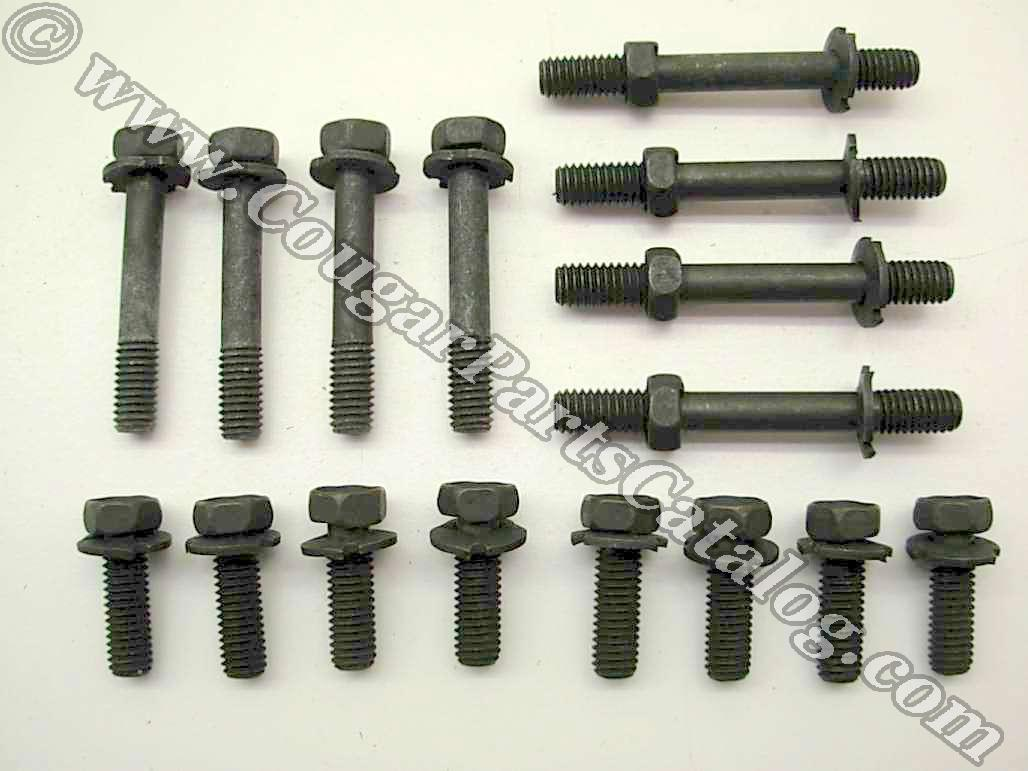 Fastener Kit - Exhaust Manifold - 351W - Repro Fits: 1969 - 1973 Mercury  Cougar / 1969 - 1973 Ford Mustang