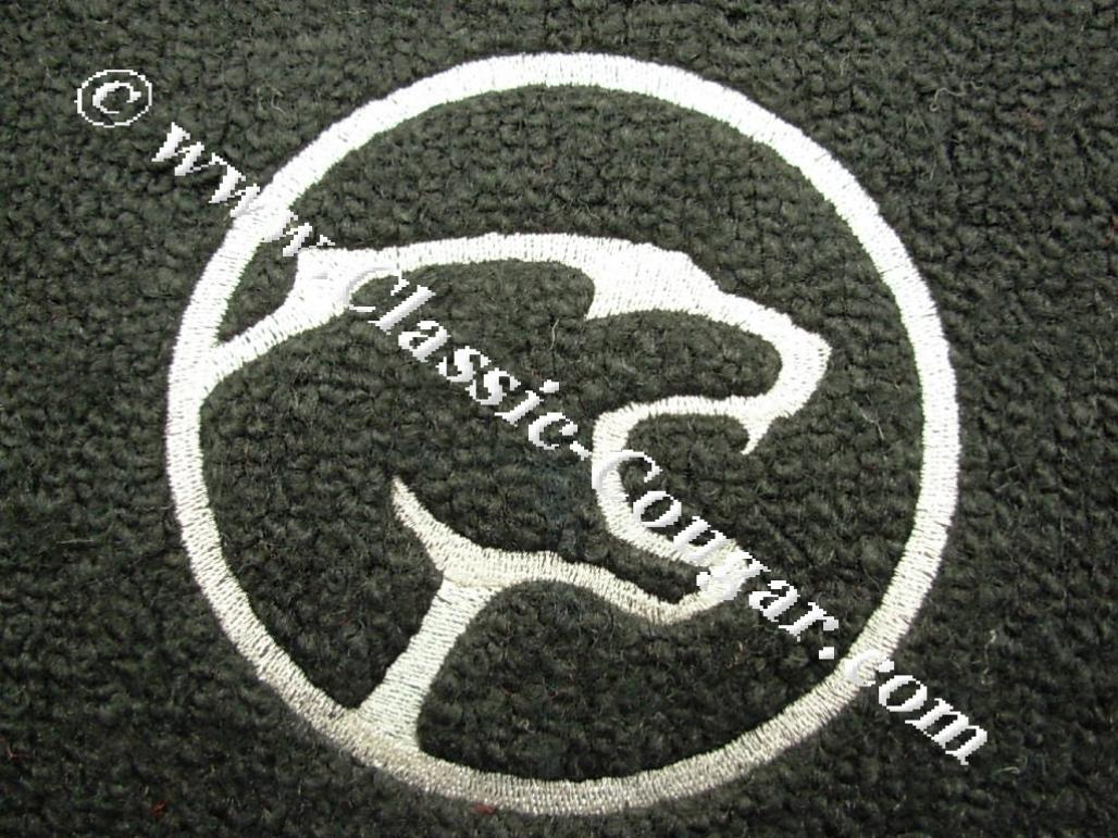 Floor Mats Coupe Only Black Carpet White Cougar Head Logo W